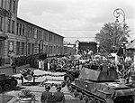 Mátyásföld, Újszász utca 41-43. Magyar Királyi Honvéd gépkocsiszertár díszudvara, ünnepi mise. Fortepan 72097.jpg