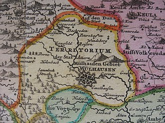 Mühlhausen - The Mühlhausen territories on a map of 1725