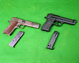Beretta M9 - M1911A1 and early M9 with magazines removed