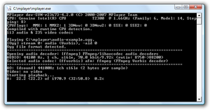 MPlayer - MPlayer being run via command line in Microsoft Windows.