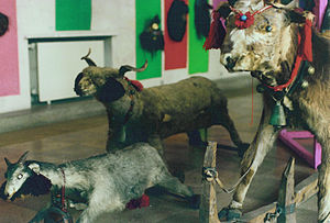 The Goat and Her Three Kids - The effigies of a goat, sheep and cow, as used in some peasant festivities (Museum of the Romanian Peasant, Bucharest)