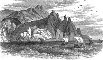 Gwennan Gorn - Depiction of Madoc leaving Wales with his ship Gwennan Gorn leading a fleet, (from W. C. Bryant's 1888 A Popular History of the United States)