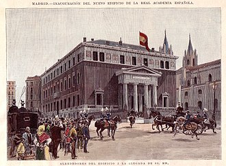 Royal Spanish Academy - Inauguration of the RAE building in Madrid by Alfonso XIII, 1894