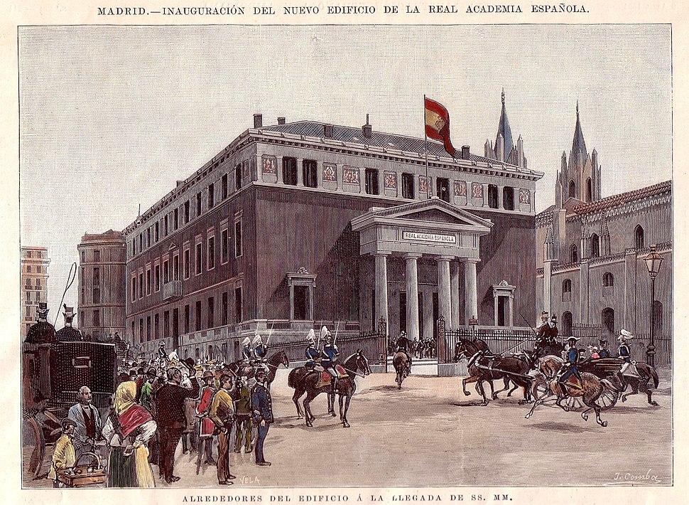 Madrid, inauguración del nuevo edificio de la Real Academia Española. Alrededores del edificio a la llegada de SS. MM.