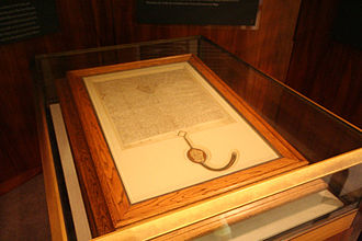 A 1297 copy of Magna Carta, owned by the Australian Government and on display in the Members' Hall of Parliament House, Canberra Magna Carta (1297 version, Parliament House, Canberra, Australia) - 20080416.jpg