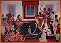 Mahadaji Sindhia entertaining a British naval officer and military officer with a nautch.jpg