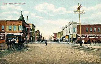 Parsons, Kansas - Main Street in Parsons (1908)