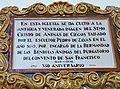 Malaga ig Sn Juan Bautista f09.4 RF -placa sobre culto imagen Cristo de Animas de Ciego.jpg