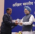 Manmohan Singh gave away the President's Police Medal to Shri Shri Srinivasan Ramadoss Assistant Director, Vijayawada for distinguished services on the occasion of Independence day-2007, at the DGPsIGPs Conference-2008.jpg