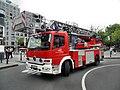 Mannheimer Hauptbahnhof- Bahnhofsvorplatz- Drehleiter der Feuerwehr Mannheim (bei Feueralarm) 19.6.2009.JPG
