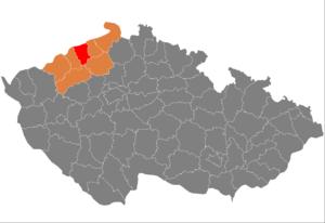 Vị trí huyện Teplice trong vùng Ústí nad Labem trong Cộng hòa Séc