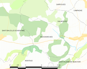 Buzignargues - Image: Map commune FR insee code 34043