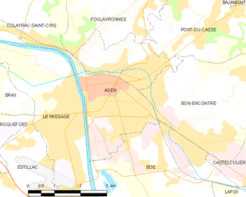Map of the commune of Agen