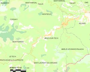 Arles-sur-Tech - Map of Arles-sur-Tech and its surrounding communes