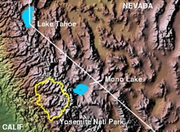 Relief map of Mono Lake and surrounding area