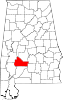 Map of Alabama highlighting Wilcox County