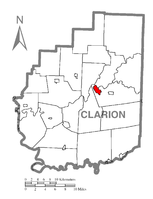 Map showing Clarion in Clarion County