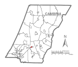 Map of Ehrenfeld, Cambria County, Pennsylvania Highlighted.png