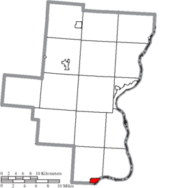 Location of Crown City in Gallia County