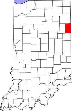 map of Indiana highlighting Adams County