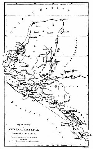 Pedro de Aycinena y Piñol - Map of Yucatán, Belize, Guatemala, Honduras and El Salvador region in 1839. Notice that the borders among México, Guatemala and Belize were not defined at all.