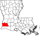 Map of Louisiana highlighting Calcasieu Parish.svg