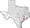 State map highlighting Wharton County