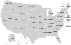 Map of USA States with names white.svg