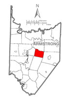Map of Armstrong County, Pennsylvania highlighting Valley Township