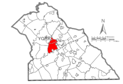 Map of York County, Pennsylvania highlighting West Manchester Township