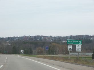 Marathon City, Wisconsin - Overview and sign