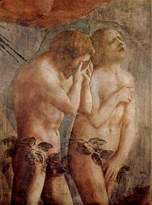 Detail of a fresco showing Adam and Eve leaving the garden of Eden. Adam's weeps into his hands and Eve throws her head back to wail, while trying to cover her naked body. The style is broadly painted with realistic gestures and emotion.