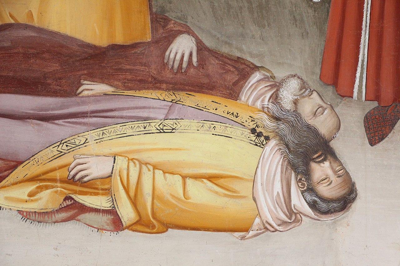 Maso di Banco, Storie di san Silvestro, Il Miracolo del drago (dettaglio, San Silvestro resuscita due maghi uccisi dall'alito del mostro), Cappella Bardi di Vernio, Santa Croce, Firenze