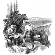 Stippled illustration of two men on a hill overseeing the American wilderness