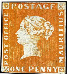 L'emissione iniziale dell'1 penny arancio, con a sinistra in verticale la scritta errata Post Office invece di Post Paid