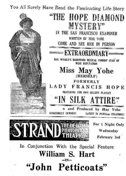 May Yohe performance about Hope Diamond Mystery