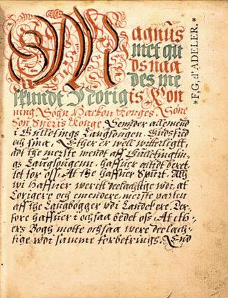 Magnus VI of Norway - Page from the national law (Landslov) of Magnus.