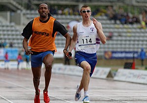 Paralympic athletics - Timothée Adolphe and his sighted guide Cédric Felip