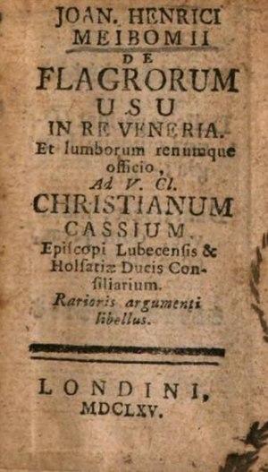 De Usu Flagrorum - Title page of London edition of Meibomius De flagrorum usu, 1665