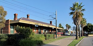 Melbourne tram route 109 - The Port Melbourne terminus, with the Port Melbourne railway station building in the foreground