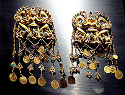 Gold artifacts of the Scythians in Bactria, at the site of Tillia tepe.