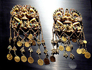 Balkh Province - The treasure of the royal burial Tillia tepe is attributed to 1st century BCE Sakas in Bactria.