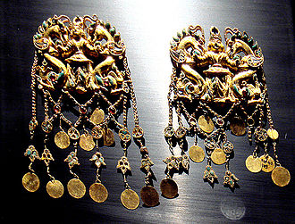 Bactria - The treasure of the royal burial Tillia tepe is attributed to 1st century BC Sakas in Bactria.