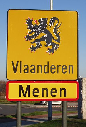 Flag of Flanders - The official flag used on a border sign in Menen