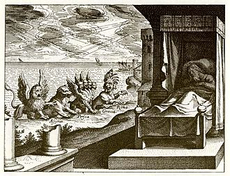 "Four kingdoms of Daniel - This 1630 engraving of Daniel's vision in chapter 7 by Matthäus Merian follows Jerome's interpretation of the four beasts, but with ""Assyria"" in place of ""Babylon""."