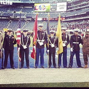 Junior Reserve Officers' Training Corps - Cadets from Elizabeth High School's MCJROTC and Linden High School's NJROTC hold a joint color guard at MetLife Stadium.