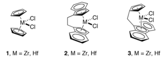 Transition metal indenyl complex - Metallocene dichloride 1, containing two Cp ligands (C2v symmetry), a related complex bis(indenyl) complex 2 (C2 symmetry), and a mixed Cp-fluorenyl complex 3 (Cs symmetry).  Such compounds are precursors to Ziegler-Natta catalysts.