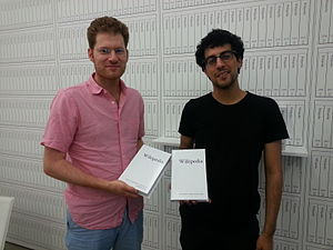 Print Wikipedia - Image: Michael Mandiberg and Jonathan Kiritharan with 'Print Wikipedia', NYC, June 17, 2015 1