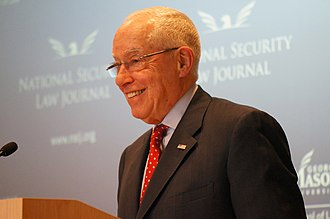Michael Mukasey - Mukasey speaking at the National Security Law Journal symposium on NSA surveillance, March 26, 2014, in Arlington, Virginia.