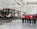 Michelle Bachelet visita instalaciones del Taller Cerrillos de nueva Línea 6 de Metro (30657937662).jpg